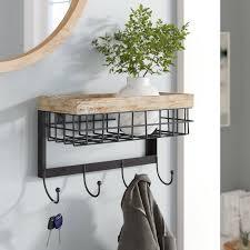 Wall Mounted Coat Rack With Mirror Delectable Mercury Row Modern Wall Mounted Coat Rack Reviews Wayfair