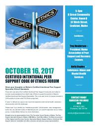 flyers forum you are invited certified intentional peer support code of ethics forum