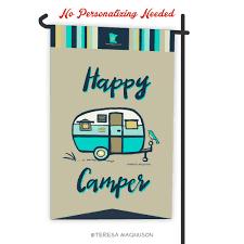 camping garden flag. Contemporary Camping Camping Flag  Happy Camper Aqua Garden Throughout S