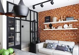 cozy brick wall design in small apartment design