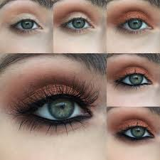perfect look for our blue green e s this gorgeous warm copper look by heidi makeup artist will make your light eyes pop