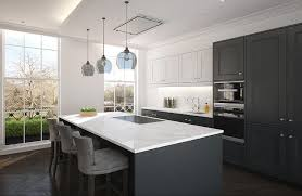 white upper cabinets and dark gray lower cabinets