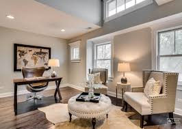 office in the home. Prior To Staging The Property With Furniture Room Was Painted A Light  Grey Enhance Architectural Features In Including Dark Walnut Office Home E