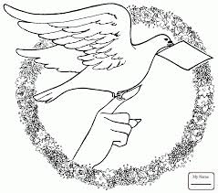 Dove Holding Olive Branch birds coloring pages | colorpages7.com