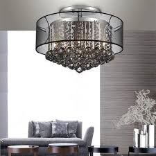 A stunning black shade ceiling chandelier trimmed with spotless smoke  crystals to add an elegant touch to every home.