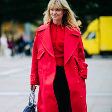 red fall winter coat