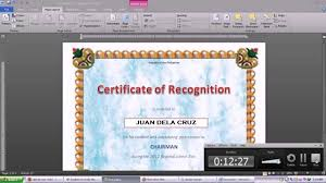 Making Certificate Using Microsoft Word 2010 Youtube How To Make A