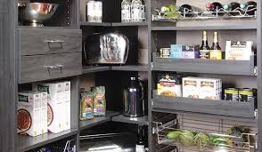 Corner Pantry Organizer in Sophisticated Gray with Pull-Out Pantry Shelves