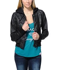 empyre girl hudson black tribal print faux leather jacket