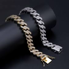 14mm mens bracelet luxury designer 18k gold plated cuban link chain miami hip hop iced out fashion jewlery