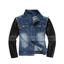 justin bieber denim jean jacket with leather sleeves
