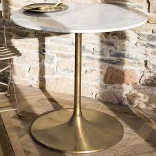 notting white marble top dining table round small with brass base