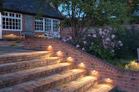 amazing garden lighting flower. Garden-lighting-incredible-outdoor-stairs-lights-with-brick- Amazing Garden Lighting Flower