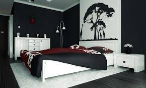modern bedroom black and red. Red And Black Bedroom Walls Floor To Ceiling Window Modern Lamp White Paneling Decoration . N