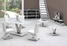 white glass dining table sets