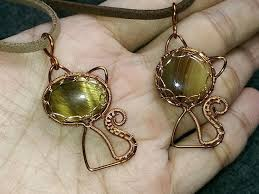 cat pendant without hole stone wire wrapping stones 267