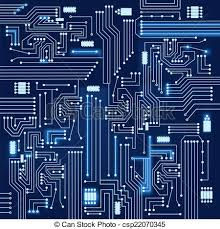 Electronic Circuit Background Blue And Bright Electronic Circuit