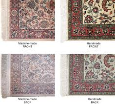 note the strong visual differences between the machine made and handmade rugs in particular the back of the machine made rug is very diffe in