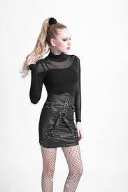 <b>PUNK RAVE</b> Punk Rock Lady Bandage High Waisted Leather Mini ...
