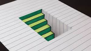 how to draw 3d steps in a hole line paper trick art