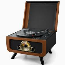 steepletone rico 3 sd 1960 s style record player cd player radio with to usb sd recording black brown