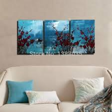 get quotations hand painted red flowers modern abstract oil paintings on canvas 3 panel wall art living room on 3 panel wall art flowers with cheap 3 panel wall art set find 3 panel wall art set deals on line