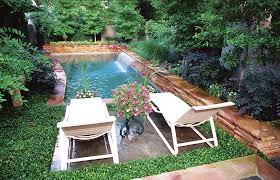 Outdoor Living:Small Modern Backyard Swimming Pool With Fresh Garden  Planter Fresh Garden Design With