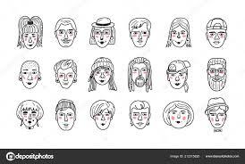 Fronti Della Gente Di Vettore Doodle Divertente Avatar Ragazzi E