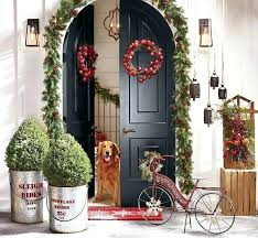 Lighted Garland Around Front Door Garlands Entries Decorated For With Hanging Baskets Wreaths