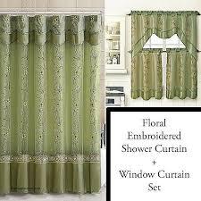 shower curtain and window valance set luxury sage shower curtain and 3 pc window curtain set bathroom