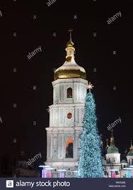 Bell Tower Tree Lighting Kyiv Ukraine December 30 2018 Christmas Tree Near Bell