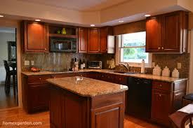 Brilliant Painting Cherry Kitchen Cabinets White Black Granite To Decorating Ideas