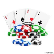 Playing Cards Near Stack Of Casino 3d Chips Or Aces Of Spades