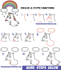 drawing lesson for children how to draw a cute kawaii unicorn with tongue out under rainbow easy step by step
