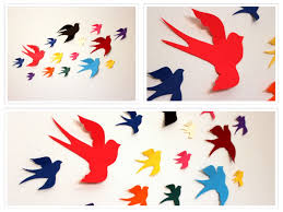 ... Paper Bird Wall Decor Wall Decor Nursery Paper Birds Multicolor ...