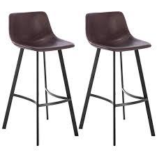 <b>2</b> piece leatherette designer <b>Bar stool</b> - antique leather optic - <b>brown</b>