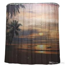 2016 whole new fashion sunset coconut shower curtain stylish family bathroom shower curtain ring pull easy to install curtains shower curtains home