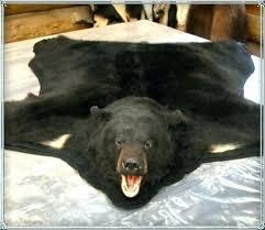 bear skin rug black faux white