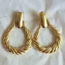 monet vine gold door knocker earrings