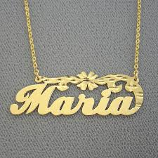 18k yellow or white solid gold personalized name necklace diamond cut flower nn41