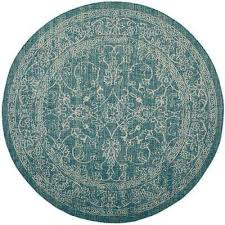 courtyard turquoise 7 ft x 7 ft indoor outdoor round area rug