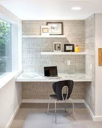 office floating shelves. Office Floating Shelves Home With Desk Alcove Textured Wall Wallpaper . Y
