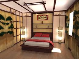 Bedroom:Free Japanese Themed Bedroom Design With Red Bedding Also Drum  Shape Table Lamp Also