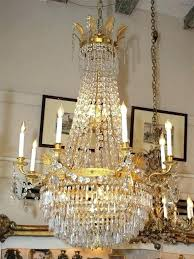french empire chandelier antique bronze and baccarat crystal circa lighting vintage c