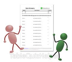 blank table quiz answer sheets for match the pairs question rounds