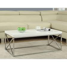 monarch specialties gloss white and chrome coffee table
