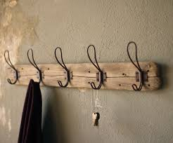 Reclaimed Walnut Wood Entryway Hook  Coat Rack Hat Rack Wall Wall Hooks Rack