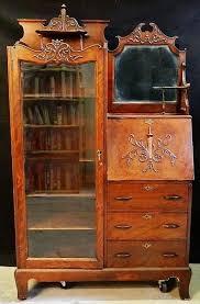 antique secretary desk with hutch burl walnut cylinder roll top secretary desk