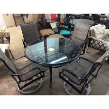 hampton bay statesville pewter 5 piece aluminum outdoor dining set