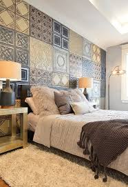 Use ceiling tiles as a unique accent wall idea for the bedroom... or